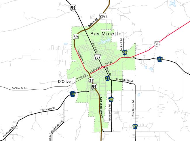 Bay Minette, AL Map