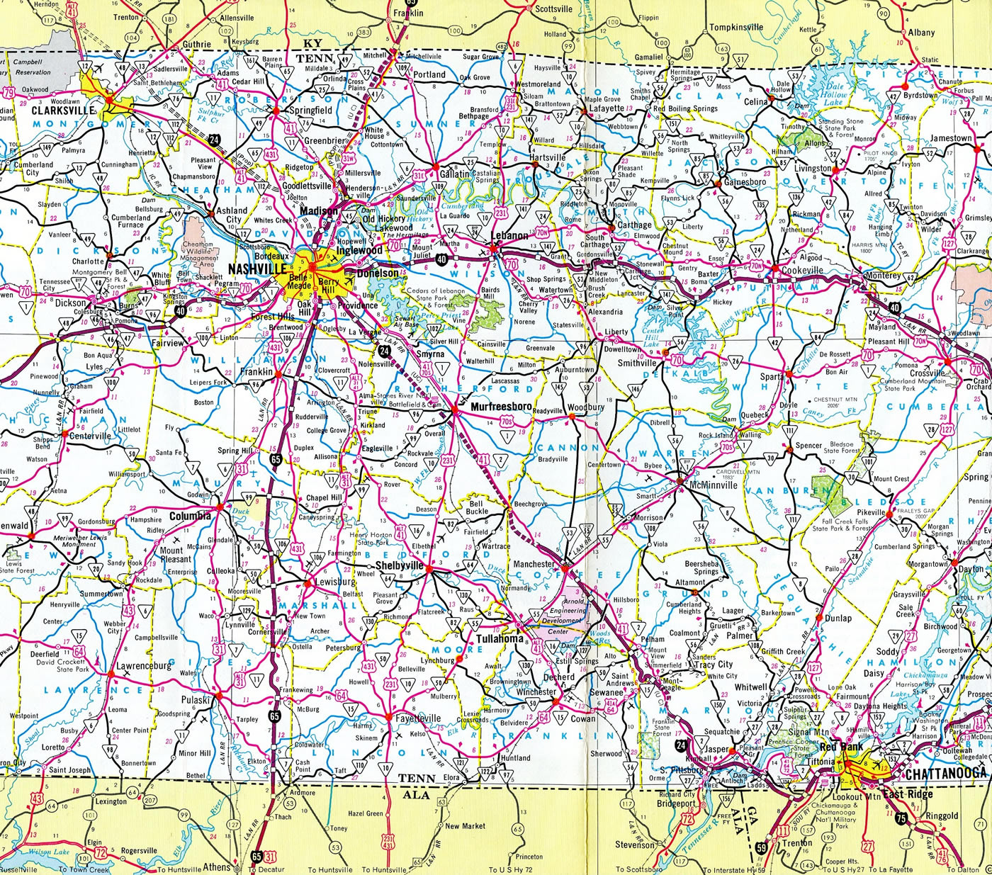 Nashville Tn Traffic Map.Interstate 24 Aaroads Tennessee