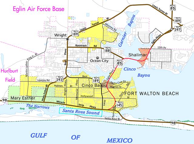 Fort Walton Beach, FL road map