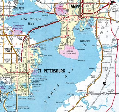 1972 Map of Tampa Bay, FL