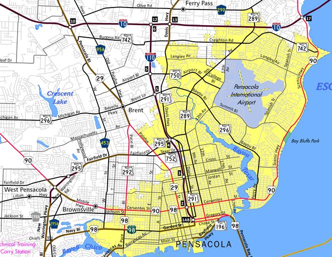 I-110 Pensacola, FL Map
