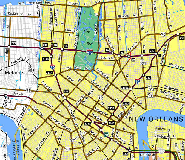 I-610 New Orleans, LA Map