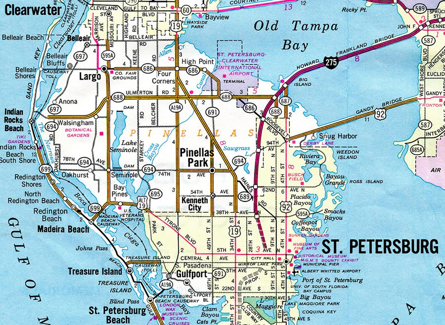 Pinellas County Map Florida.Florida 694 Pinellas County 694 Aaroads Florida