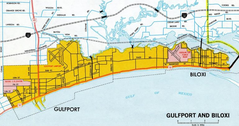 Biloxi and Gulfport - 1970 Mississippi Official Highway Map