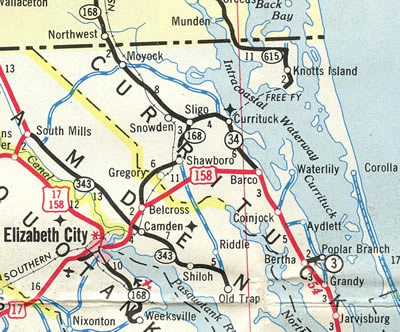 N.C. 168 - 1963 NC Official Highway Map