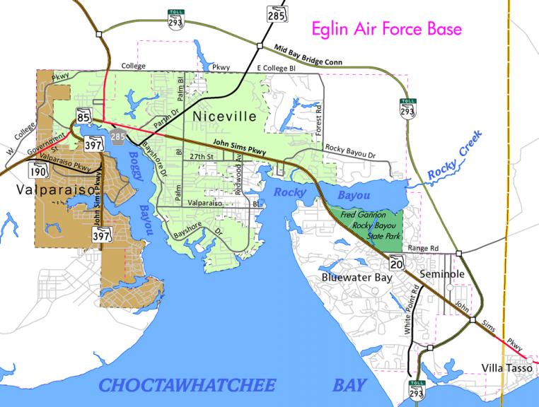 Niceville, FL Map