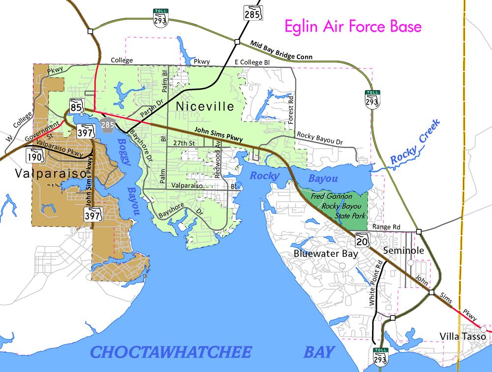 Niceville Florida Map.Florida 293 Mid Bay Bridge Mid Bay Bridge Connector Aaroads
