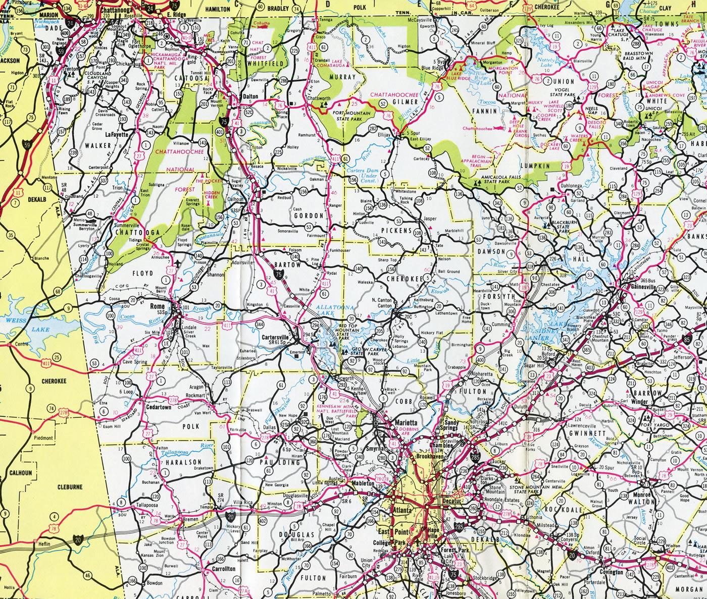 Map Of Georgia 75.Interstate 75 Aaroads Georgia