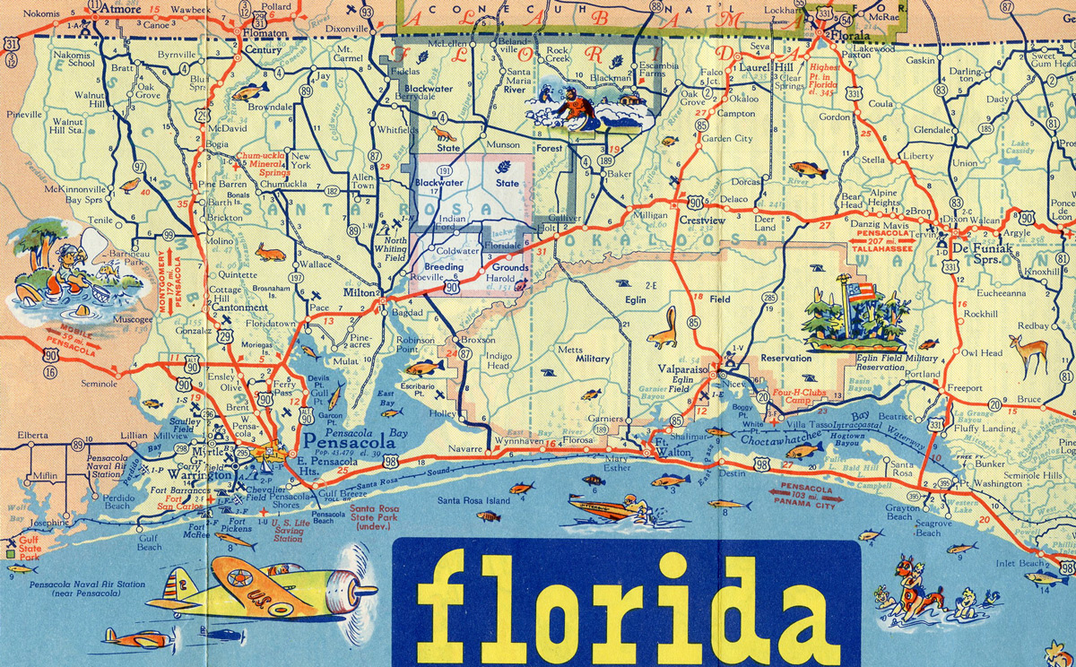 this 1948 map shows that a second u s 90 alternate may have been signed along scenic highway between pensacola and the ferry p area as a temporary