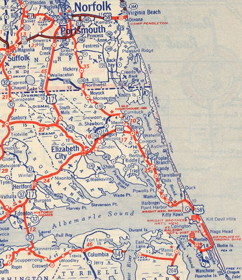 1950 Map of the proposed OBX Toll Road
