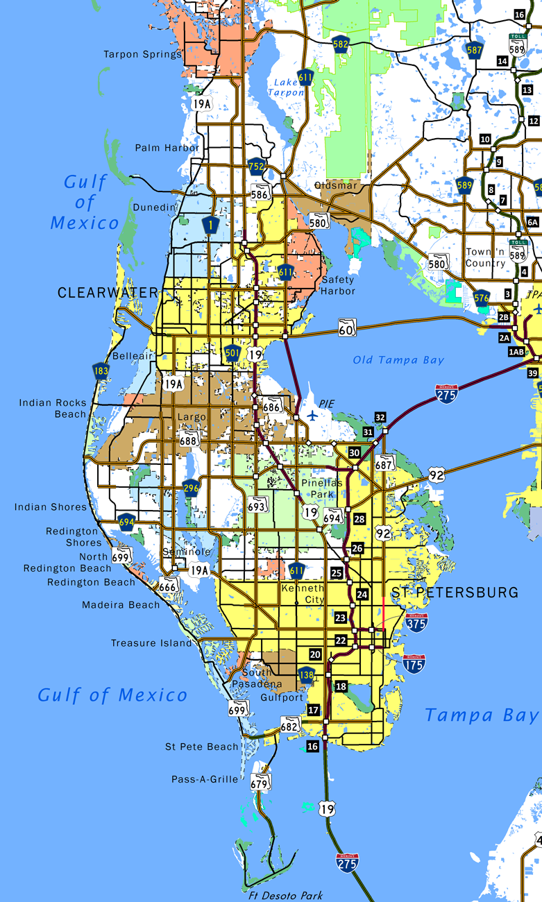 Pinellas County Map Florida.Pinellas County Aaroads