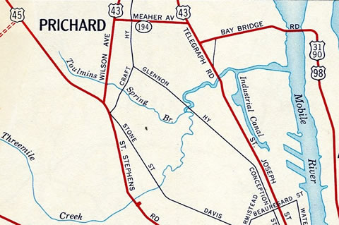 Prichard, AL - 1961 Map