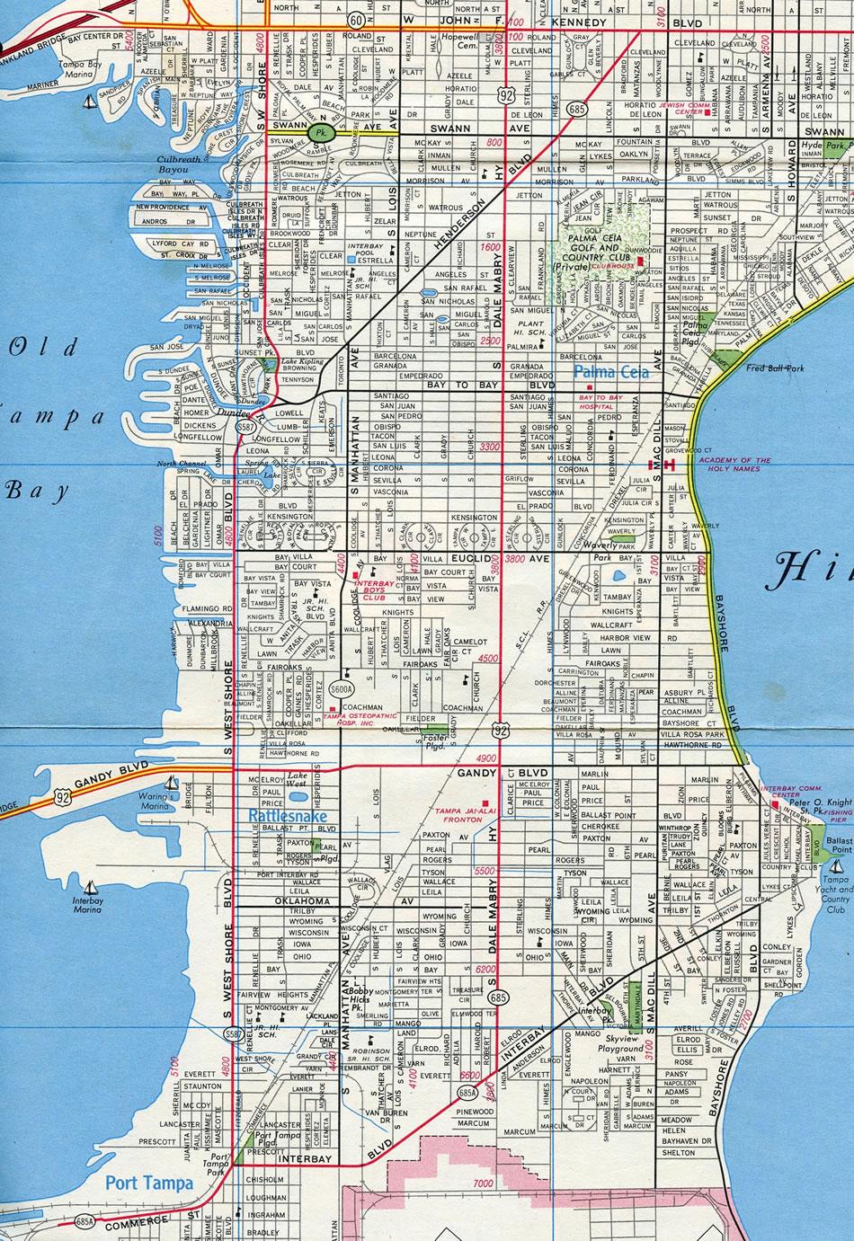 Road Map South Florida.State Road 685 Henderson Boulevard Aaroads Florida