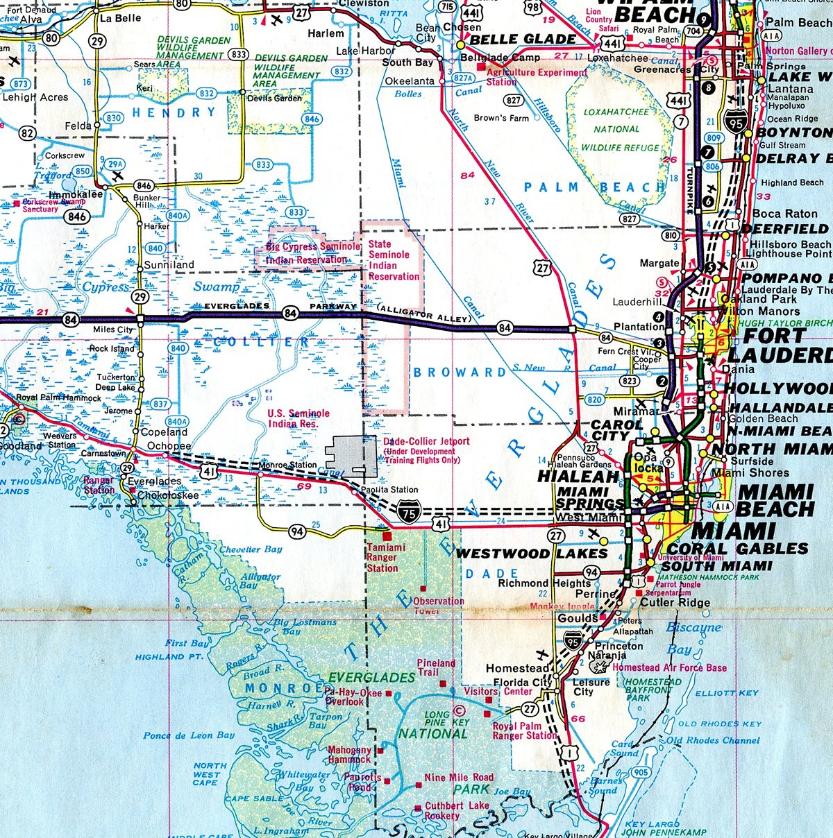 Southeast Florida Map.Interstate 75 Aaroads Florida