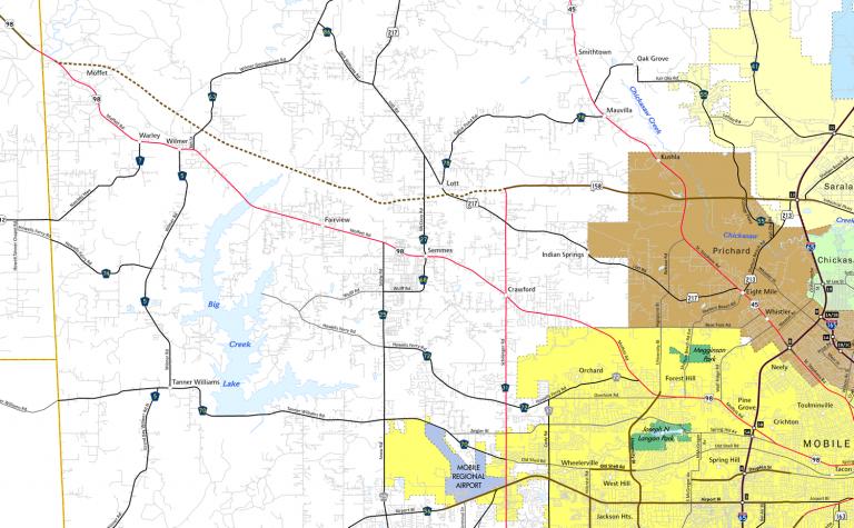 US 98 - Mobile County, AL Map