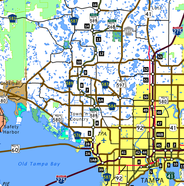 Florida 589 Veterans Expwy Suncoast Pkwy AARoads Florida