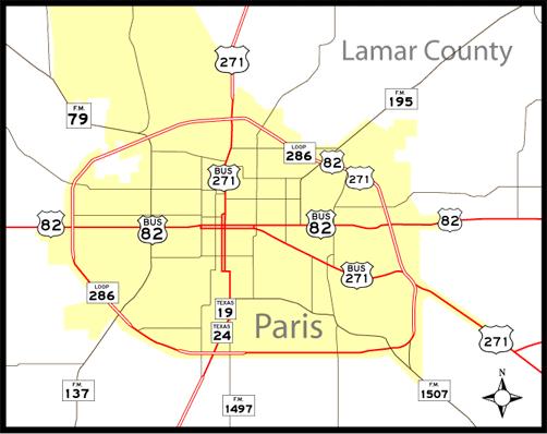 Paris, TX Map