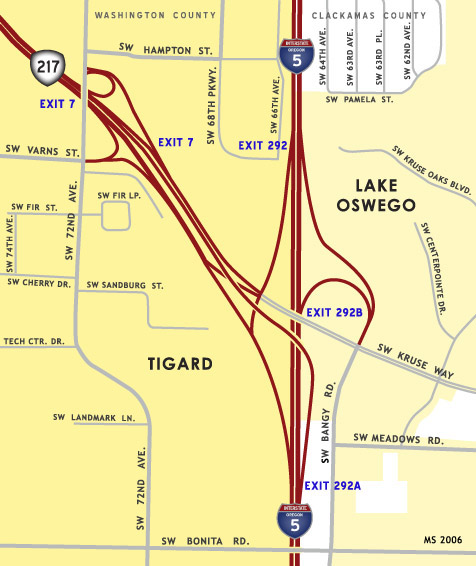 OR 217 / I-5 Interchange Map