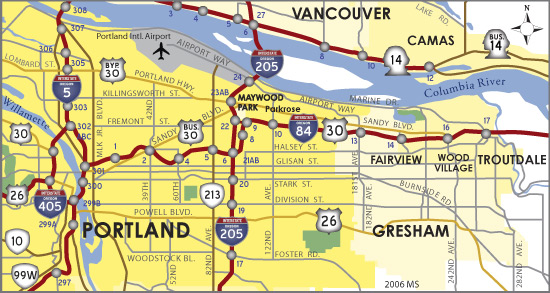 Map Troutdale Oregon Interstate 84 West   Troutdale to I 5   AARoads   Oregon