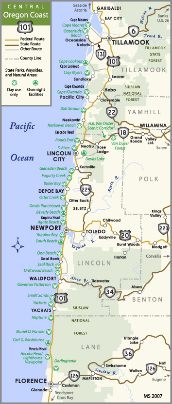 Oregon Central Coast Map