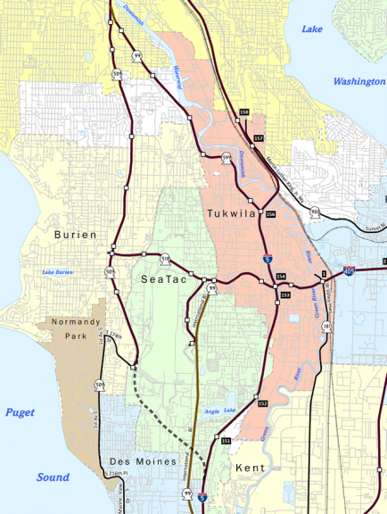 Washington State Route 509 Map