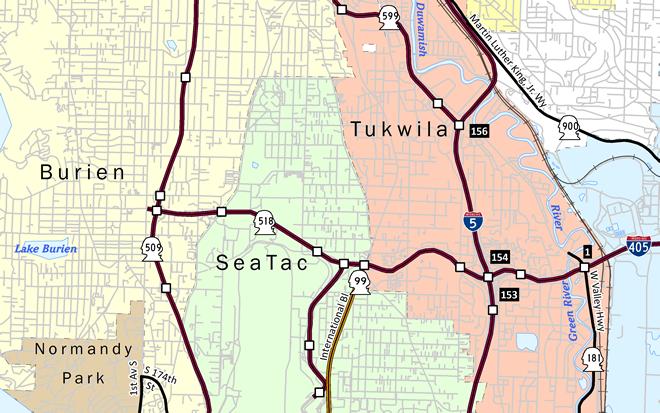 Washington State Route 518 Map