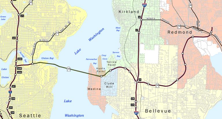 Washington State Route 520 map