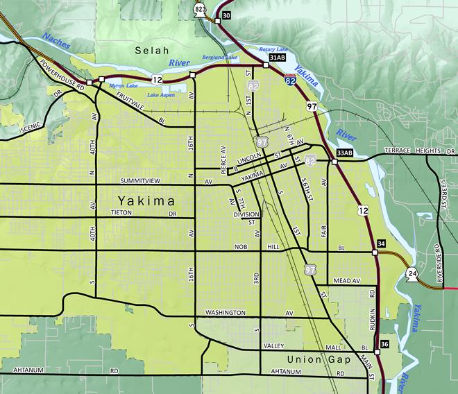 Yakima, Washington Map